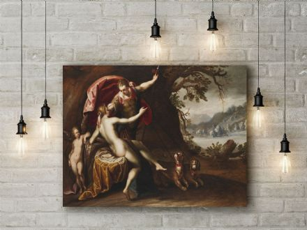 Hans von Aachen: Venus and Adonis with Hounds. Mythological Fine Art Canvas.